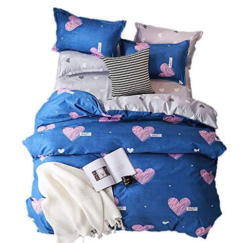 Confortevole set di biancheria da letto matrimoniale reversibile a forma di cuore blu rosa con copripiumino e cerniera, include 2 federe 100% microfibra calda, blu, matrimoniale
