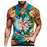 Camiseta de Moda para Hombre Camiseta de Manga Corta con Cuello Redondo Camiseta Informal Estampada Camiseta de Gran TamañoCamiseta Ajustada
