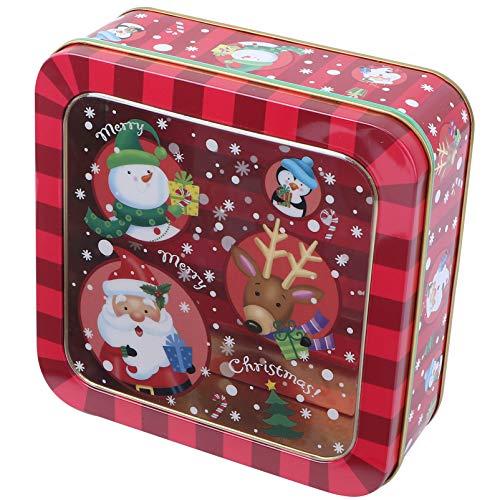 PRETYZOOM Keksdose Metallbox Plätzchendosen Weihnachten blechdose mit Fenster Geschenkbox Tin Quadratische Box Vorratsdose Metall Box Storage Container Organizer Aufbewahrungsbox