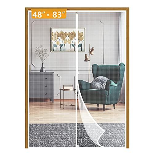 Yotache Malla para puerta blanca con imán tamaño 127 x 213 cm, malla para puerta francesa para patio, malla resistente, apto para mascotas y niños