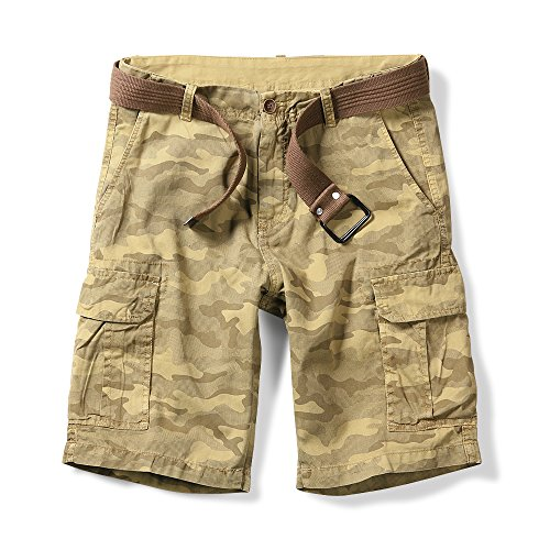 OCHENTA Men's Lightweight Camo Cargo Shorts Multi Pockets Yellow 38