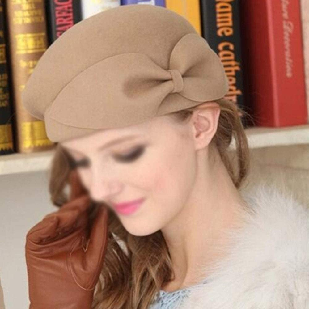 TWDYC ZYWALNUT Wool Vintage Warm Wool Winter Women Beret Artist Beanie Hat Cap for Sweet Girl Gift Spring and Autumn Hats (Color : A)