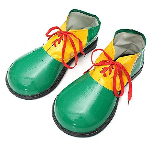 Changlesu Adulto 1 par de zapatos de payaso de Halloween botas de decoracin de vestido accesorios unisex comedia fantasa disfraz fiesta eventos suministros (verde)