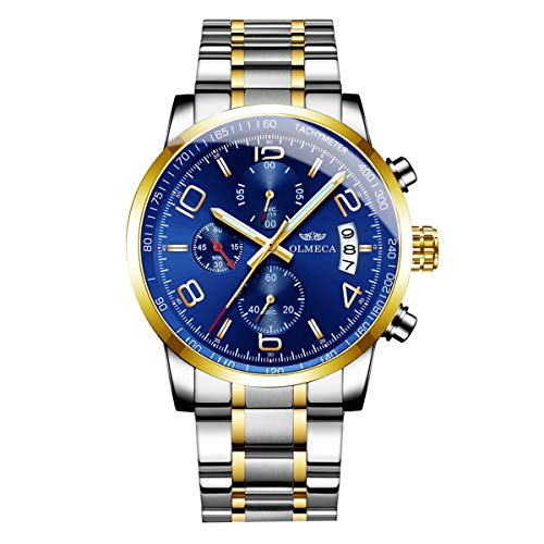 OLMECA Men's Watches Fashion Sport Quartz Analog Stainless Steel Band Waterproof Chronograph Wrist Watch Auto Date Blue Color