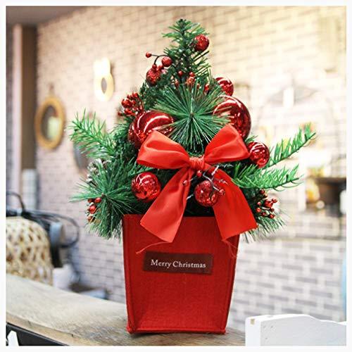 Lucidting Mini Regalo De Decoración De Árbol De Navidad De Escritorio Arbolito Nudo Rojo 30cm