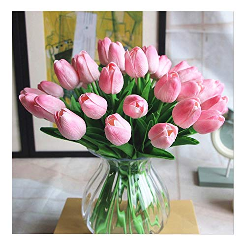 Artificial PU Real Touch Tulips Artificial Flowers 10Pcs Flowers Arrangement Bouquet for Home Office Wedding Decoration (Pink)