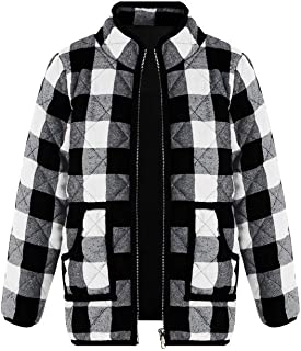 Ivay Girls Buffalo Cotton Plaid Quilted Vest Cute Puff Lined Gilet (3T/90cm, Y White)