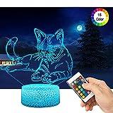 3D Katze Lampe LED Nachtlicht mit Fernbedienung, QiLiTd 16 Farben Wählbar Dimmbare Touch Schalter Nachtlampe Geburtstag Geschenk, Frohe Weihnachten Geschenke Für Mädchen Männer Frauen Kinder