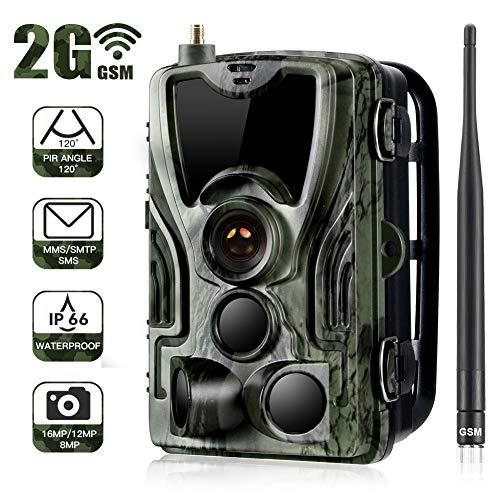 2G 1080P 16MP Wildkamera IP65 wasserdichte SMTP Jagdkamera, Infrarot-Nachtsicht bis zu 20m, Triggerzeit 0.3s,Fotos,Farbvideo und Audio können international übertragen Werden.