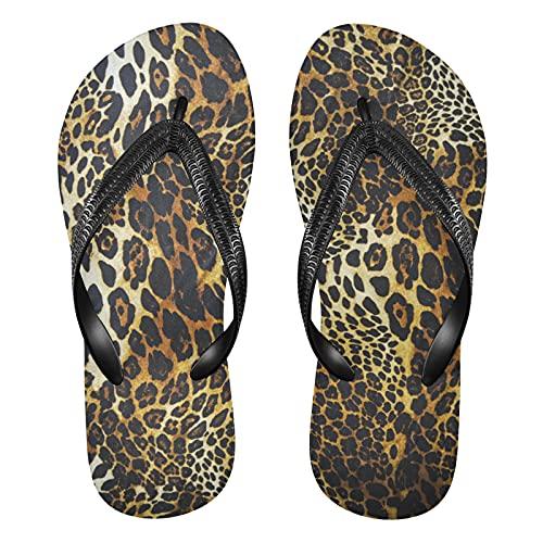 Linomo Chanclas para hombre y mujer, con diseño de leopardo, para verano, para la playa, color Multicolor, talla 32/33 EU