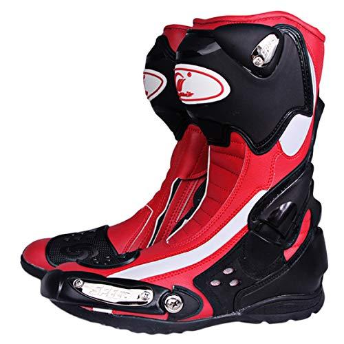 MERRYHE Bottes de Moto pour Hommes Blindés, Chaussure Haute de Protection de la Cheville, Chaussures de Course, antidérapants, Sports de compétition, Chaussures de Moto pour Hommes,Red-41