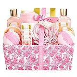 Spa Luextique Coffret de Bain, 12Pcs Coffret de Bain & Douche pour les femmes, Coffret Cadeau de Bain, Parfum de Rose, Lotion pour le Corps, Cadeau pour l'Anniversaire et des Fêtes