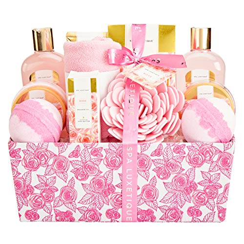 Bath Sets for Women, Spa Luxetique Spa Gifts for Women, Rose Spa Kit, Pamper Christmas Gift Basket for Women, 12 Pcs Home Spa Set with Massage oil, Bath Bomb, Body Lotion. Best Gift Set for Women.