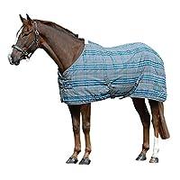 (サクソン) Saxon 馬用 PP ステーブル スタンダードネック ミディアムII ステーブルラグ 馬着 乗馬 ホースライディング (6 フィート 9) (グレー/ブルーチェック)
