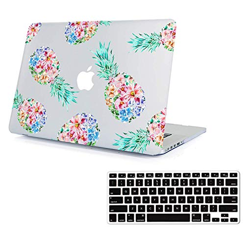 Lapac MacBook Air 13.3 Inch Case Pineapple, Soft-Touch Hard Shell Clear Case Cover Fit Model A1466 A1369 2010-2017 with Keyboard Cover