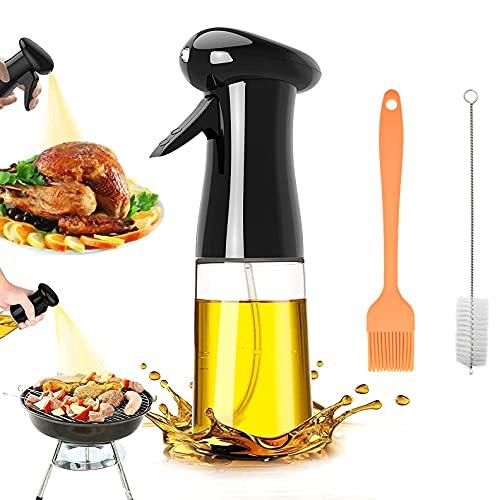 JTOOYS Öl Sprüher, Oil Sprayer Olivenöl Sprüher zum Kochen Ölsprüher Flasche 210ML, Öl Sprühflasche, Essig Spritzer Ölspender, Transparent Öl Sprayer mit Bürstefür Kochen, Salat, BBQ, Grill Zubehör