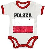 ShirtStreet Poland Polen Fußball WM Fanfest Gruppen Ringer Strampler Baumwoll Baby Body kurzarm Jungen Mädchen Wappen Polska, Größe: 3-6 Monate,White/Red