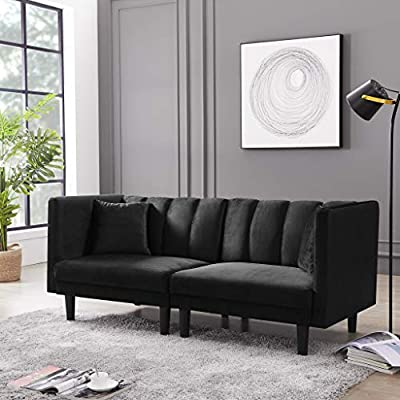 Convertible Futon Sofa Bed Sleeper Velvet Love Seat Sofa Bed Couch Sectional with Detachable Armrests 2 Pillows for… - The love seat sofa bed uses soft and comfortable velvet fabric and curved spring seats, including 2 pillows.(The pillow is a gift) Detachable armrests, 2-seater and recliner are reversible. Plastic legs can prevent floor damage. The click-clack mechanism to ensure conversion between seating / lounging/ sleeping positions. 2 angles for adjusting. - sofas-couches, living-room-furniture, living-room - 51ks50ACWmL. SS400  -