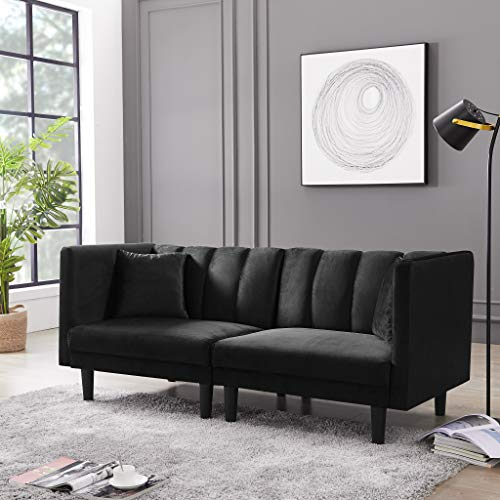 Convertible Futon Sofa Bed - AiChuangHome FSB003 (2020) Modern Tufted Sleeper Velvet Sofa Bed Couch Sectional with Detachable Armrests for Living Room Small Spaces