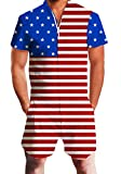 uideazone Mens Rompers Short Sleeve Star Stripe Overalls Patriotic Jumpsuits...