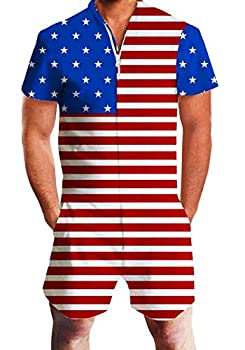 AIDEAONE Male American Flag Romper Short Sleeve Patriotic One Piece Jumpsuit Workout Overalls XL