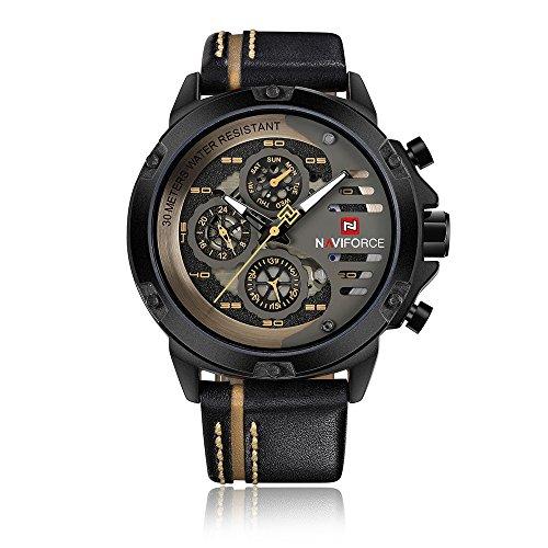 NAVIFORCE Quarzuhr Herren Uhren Leucht Echtem Leder Armbanduhr Männlich Kalender