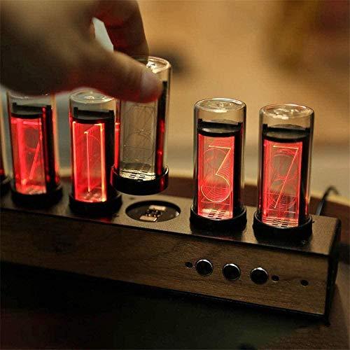 ZKK LED Nixie Uhr Mit Schwarzem Walnuss-Panel, Farbverstellbare Nixie Lumineszenz-Röhrenuhr Röhrenuhr Mit Magnetischem Design, LED Nixie-Uhr Röhrenuhr