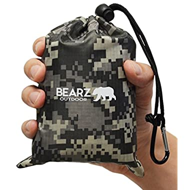 BEARZ Outdoor Beach Blanket/Compact Pocket Blanket 55″x60″, Waterproof Ground Cover, Sand Proof Picnic Mat for Travel, Hiking, Camping, Festivals - Durable Tarp w/Corner Pockets, Loops & Bag (Camo)