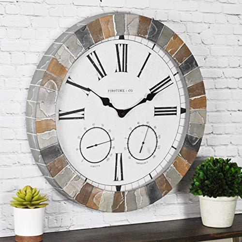 "FirsTime & Co. Garden Stone Outdoor Wall Clock, 18"", Faux Slate"