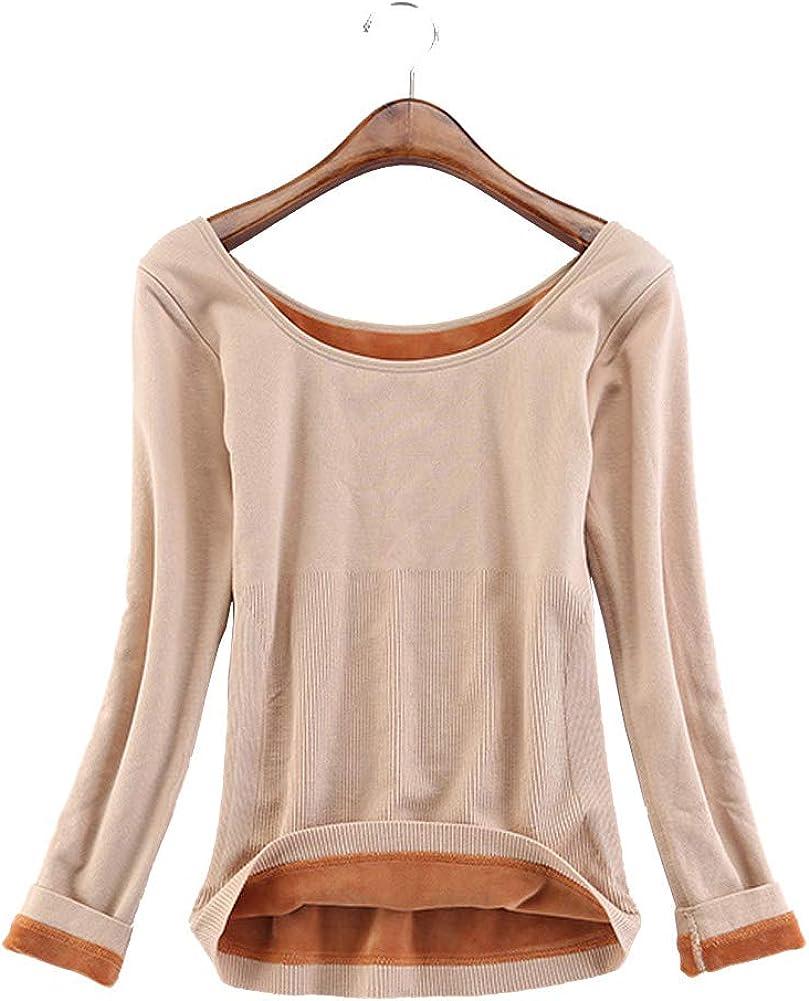 Atditama Brief Shaper Women's Scoop Neck Long Sleeve Full Fleece Lined Thermal Underwear Tops Blouse T-Shirt