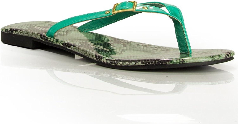 Room Of Fashion Women's T-Strap Thong Sandal SEA GREEN PATENT (10)