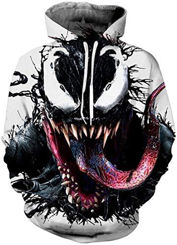 EUDOLAH Herren Pullover Pulli Bunt 3D Druck Pullover mit Kapuzen Pulli mit Aufdruck Galaxy Tier A-A-A-Venom 1 L-XL