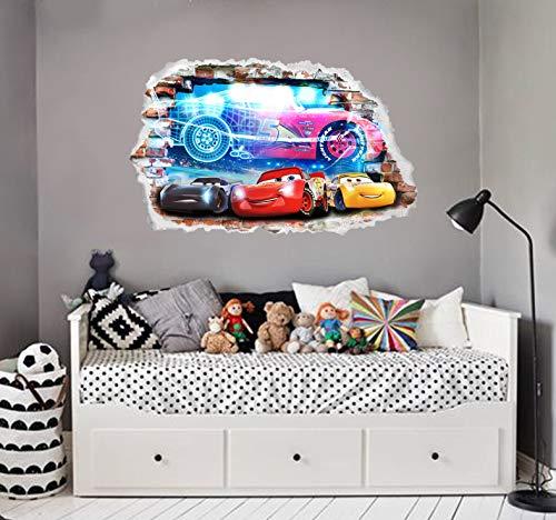 Interpaw Autos 3D Cartoon Smashed Wandaufkleber für Schlafzimmer Jungen und Mädchen Wandbild Aufkleber Größe: Groß 80 cm X 53 cm
