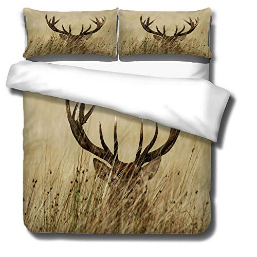 DJDSBJ Duvet Cover Single135x200cm bedding set,Polyester cotton quilt cover with zipper closure+2 pillowcases.Style for adults and children: Elk, antlers