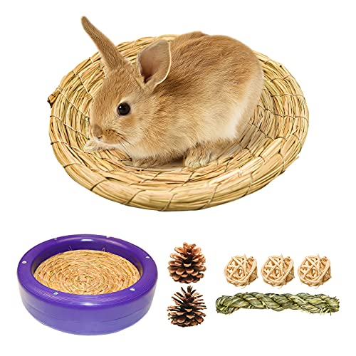 Cama para conejo/nido de pájaros, nido paja hecho a mano con marco extraíble, cama hierba palomas, incubación aves corral/gallina, conejo, hámster, cobayas, espacio dormir (L azul oscuro)