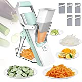Mandoline Slicer for Food and Vegetables, Huolewa Adjustable Thickness Kitchen Safe Slice Julienne Vegetable Chopper Cutter Dicer for Fruit/ Potato/ Onion/ French Fry Slicer /Cheese with Brush (Aqua)