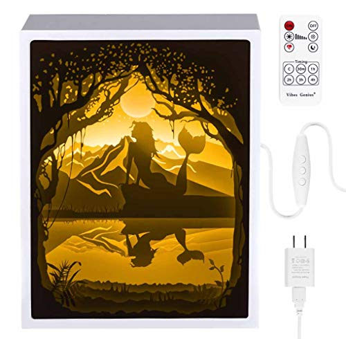 Papercut Light Boxes, 3D Shadow Box Led Light Night lamp, Decorative Mood Light for Kids and Adults, Baby Nursery Kids Bedroom Living Room Night Light(The Little Mermaid)