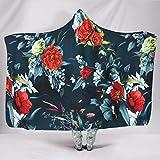 Lolyze Manta suave y transpirable con capucha, para sofá, sofá, cama, cama, microfibra, manta de franela, suave, con capucha, para color blanco, 130 x 150 cm