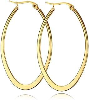 Hoop örhängen, rostfritt stål, guldfärg, tunn och platt, stor, oval, vår, guldfärg