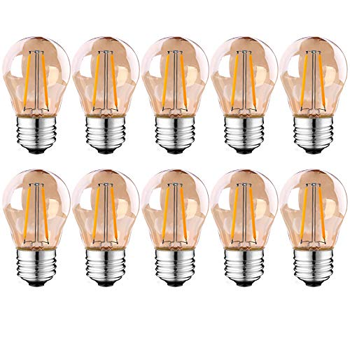 Suncan 10 lampadine a LED E27, stile vintage, 2 W, filamento a LED antico, 2700 K, luce bianca calda, 100 lumen, sostituisce lampadine da 10 Watt, non dimmerabili, AC 220 V