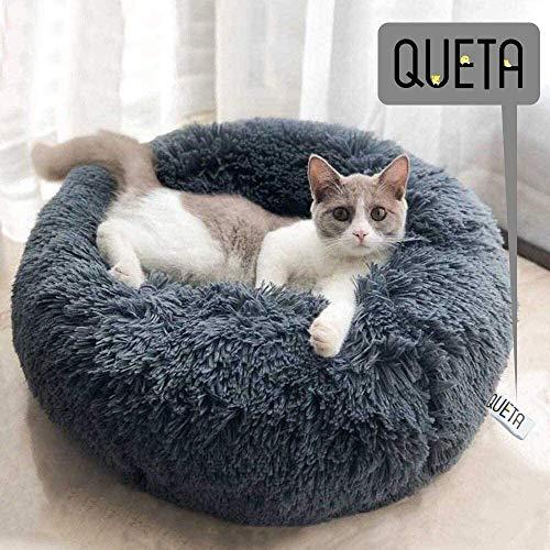 Queta Cama para Gatos y Prrros Cesta Cálida para Mascotas, Sofá de Peluche Suave para Cachorros y Gatitos Casa Gato Cómoda Antideslizante Nido para Mascotas, 60 * 20cm (B - Gris Oscuro)