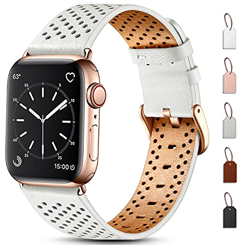 Dirrelo Leather Strap Compatible with Apple Watch Strap 44mm 40mm 42mm 38mm, Men Women Replacement Genuine Leather Breathable Strap, Sport Wristband for iwatch SE, Series 6 5 4 3 2 1, 42/44mm,Beige