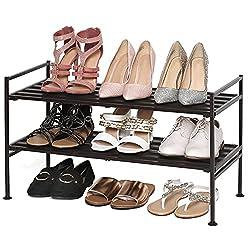 black shoe storage shelf