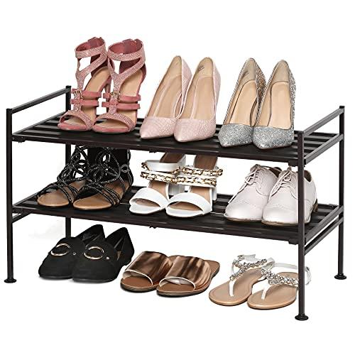 Seville Classics Sturdy Freestanding Storage Shelf for Bedroom, Closet, Entryway, Dorm Room Organizer 2-Tier Stackable 9-Pair Wood Resin Metal Shoe Rack, Espresso Slat