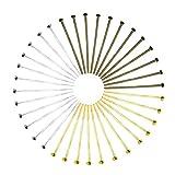 TOAOB 600 pezzi Chiodini Piatta Testa 26 mm Colorate Metallo Spilli Dritti per Creazione di Gioielli Fai da Te Collane Orecchini Braccialetti Oro Argento Bronzo