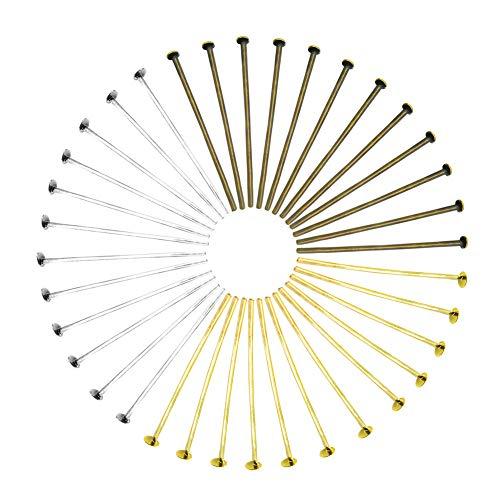 TOAOB 600 Piezas 26 mm Alfileres de Cabeza Plana Tono Plata Oro Bronce Antiguo Metal Pin de Cabeza Finos Alfileres de Satén para Accesorios de Hacer Joyería Pendientes Colgantes