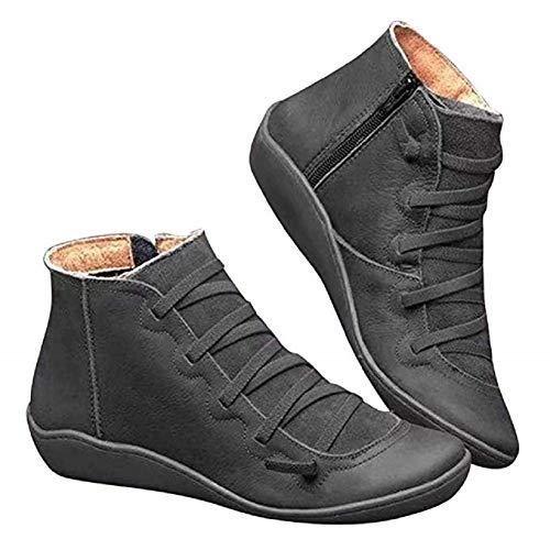 2020 New Arch Support Boots, Frauen Casual Kurze Flache Stiefel Leder Komfortable Ankle Bootie Herbst Vintage Schnürschuhe Seitlichem Reißverschluss Plattform Keil Booties Freizeitschuhe