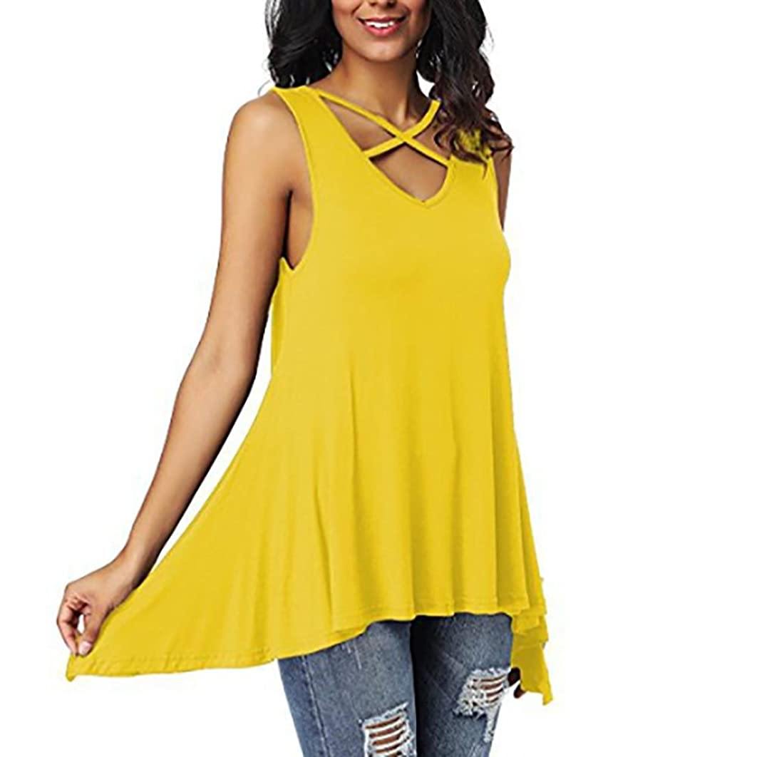 VIASA_ Women Sexy Blouse Criss Cross Front Irregular T- Shirts Tops Loose Blouse Shirts