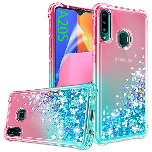 Galaxy A20S Case, Samsung A20S Phone Case with HD Screen Protector for Girls Women, Gritup Cute Clear Gradient Glitter Liquid TPU Slim Phone Case for Samsung Galaxy A20S Pink/Teal