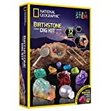 NATIONAL GEOGRAPHIC Birthstone Dig Kit - STEM Science Kit with 12 Genuine Birthstones, Includes a Real Diamond, Ruby, Sapphire, Pearl, & More, Dig Up Stunning Gemstones, Toys for Girls, Toys for Boys